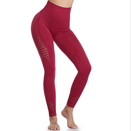 LYWZX Leggings De Yoga para Mujeres Yoga Pants Sports Running Sportswear Stretch Fitness Tights Gym Seamless Tummy Control Compression Tights Ladies-Red_M