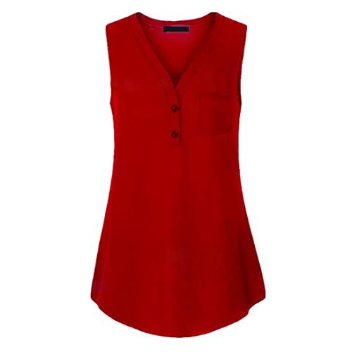 DOLAA Tops Casuales sin Mangas para Mujer Túnica Suelta Camisola Camisas con Cuello en V Camisas Camisas con Botones Casual Color sólido Camisetas de Verano Camisas Camisetas sin Mangas Casuales