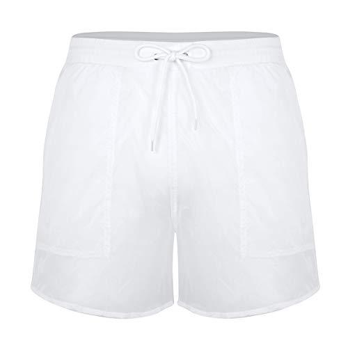 iiniim Bañador de Natación Pantalones Cortos de Baño Playa Transparentes para Hombre Pantalones con Bolsillos Cordón Cintura Elastica Traje de Baño Verano Blanco M
