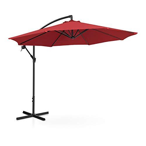 Uniprodo Ombrellone Decentrato Ombrello da Giardino a Braccio Uni_Umbrella_R300BO (Bordeaux, Rotondo, Ø 300 cm, Inclinabile)