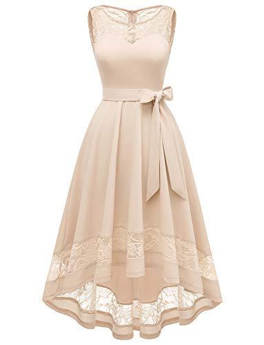 Gardenwed Damen Vokuhila Kleid aus Spitze V-Ausschnitt Kurz Brautjungfer Kleid Cocktail Party Floral Kleid Unregelmässig Brautkleider für Hochzeit Champagne XS