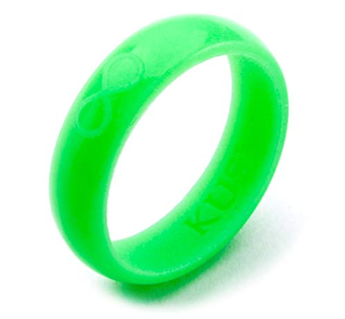 KUSI Silicone Wedding Ring Band for Women Committed to Active Lifestyle, Infinity Bands, Flex Rubber, Comfort Fit, Green Glow in The Dark Size 8, Perfect Replacement for Metal Rings