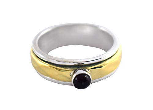 5mm Round Natural Red Garnet Spinner Ring, 925 Sterling Silver Spinner Ring, January Birthstone, Statement Ring, Promise Ring, Fidget Ring, Worry Ring (R)