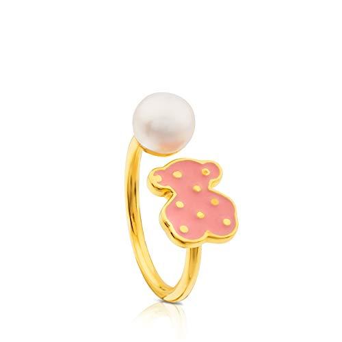 Anillo TOUS Face, plata vermeil baño de oro de 18kt con esmalte rosa y perla