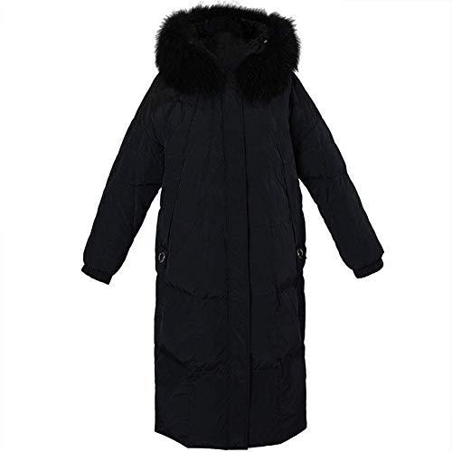 YANJ RSTJ-Sjc - Chaqueta larga de invierno para mujer, con capucha, acolchada, color negro, talla mediana