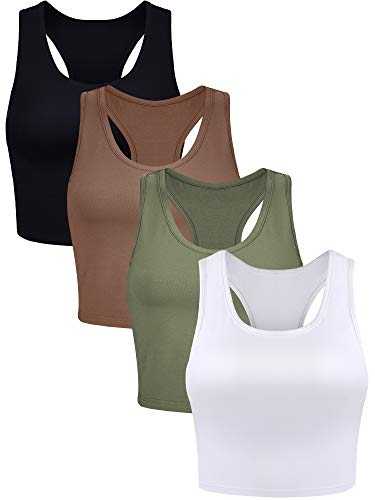 4 Pieces Basic Crop Tank Tops Sleeveless Racerback Crop Sport Top for Women (Black, White, Army Green, Coffee, Large)