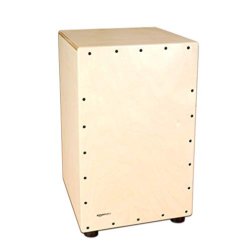 Amazon Basics Wooden Birch Cajon Percussion Box with Internal Guitar Strings - Natural