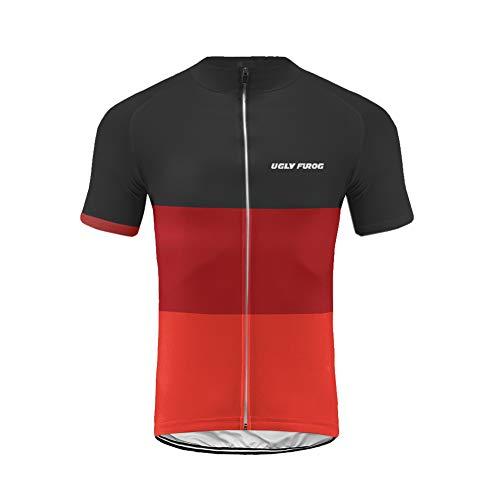 Uglyfrog Bike Wear Kurzarm Radtrikot Herren Elastische Atmungsaktive T-Shirt Jersey Funktionsshirt Schnell Trocknen Stoff Fahrradtrikot für Radsport Outdoor Sport
