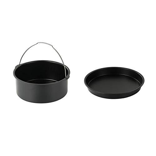 Accesorios para freidora de aire - 2pcs / set Accesorios para freidora de aire Pan de acero para pizza Barril de pastel para hornear para Gourmia