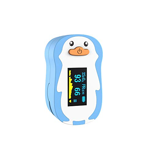 Wellue Pediatric Pulse Oximeter Fingertrip for Kids with Warning Function, Blood Oxygen Saturation and Pulse Rate Monitor with Batteries, Lanyard (Blue)