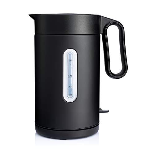 Hervidor de agua Wilfa CLASSIC - Con 1 litro de capacidad, 2000 vatios, indicacion del nivel del agua en el exterior, negro