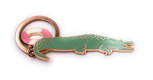 H-Customs Krokil Alligator grün Schwimmreifen Rettungsring Gold Schlüsselanhänger Anhänger