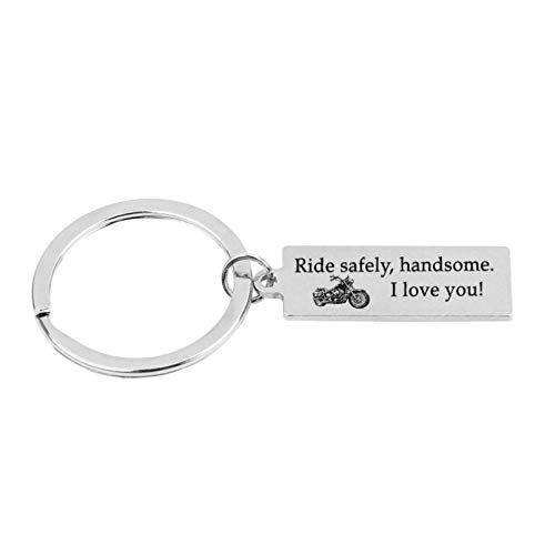 MENGYUE Gift Ride Safe Keychain Ride Safely Handsome I Love You Motocycle Keychain Gift For Biker Dad Father Boyfriend Gifts Keyring