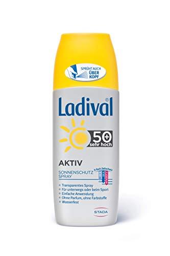 LADIVAL Aktiv Sonnenschutz Spray LSF 50+, Parfümfreies Sonnenspray für unterwegs oder beim Sport, ohne Farb- und Konservierungsstoffe, wasserfest, 150 ml