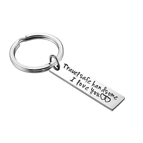 DOLOVE Schlüsselanhänger Edelstahl Mit Gravur Travel Safe Handsome I Love You Schlüsselanhänger Beste Freundin Mit Gravur