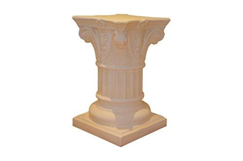 Standsäule Griechische Antike Säule Blumensäule Blumenständer Beistelltisch (Weiß-Matt-Antikfinish)