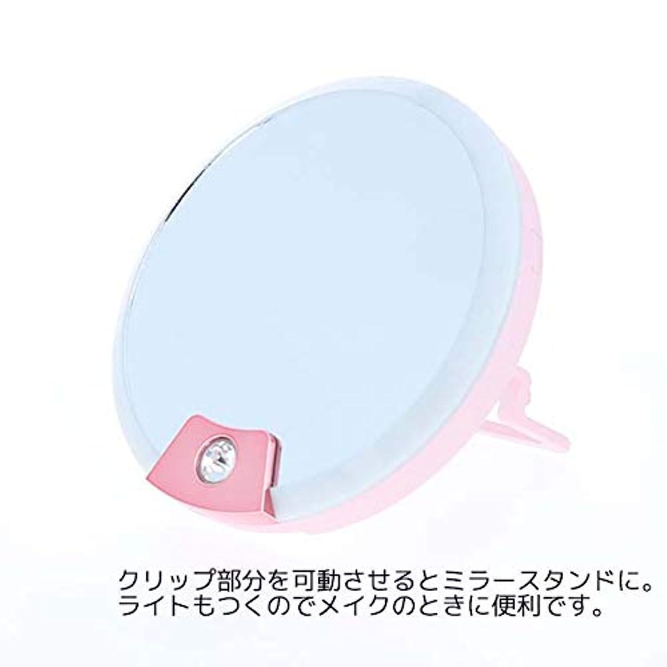 移動故障頼るtinyM ミラーつきライト TM-2 コンパクト鏡 化粧鏡 自撮り インスタ映え
