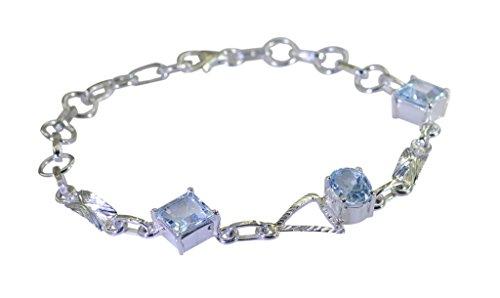 riyo Blaue 925 Sterlingsilber-Blauer Topas Armband gutaussehend handgefertigten Schmuck Online sbrabtz-10033