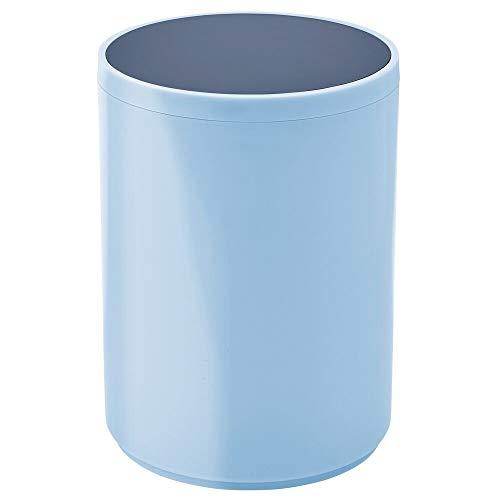 mDesign Cubo de basura con tapa basculante para baño o cocina – Papelera redonda de metal para desechos – Contenedor de residuos compacto con cubeta interior extraíble – azul claro/azul marino