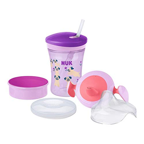 NUK 3-in-1 Trinklernset mit Trainer Cup Schnabeltasse (6+ Monate), Magic Cup 360° Trinklernbecher (8+ M) & Action Cup Trinkflasche Kinder (12+ M) | 230 ml | BPA-frei | Hund (lila)