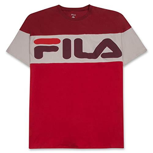 Fila Men's Big and Tall Short Sleeve T Shirt Big & Tall Crewneck Men Shirt Burgundy Stone Red 2X