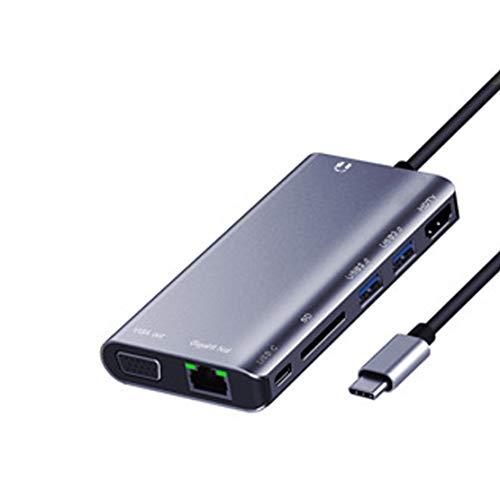 USB C Hub Adaptador USB C 8 en 1 con 4K HDMI, 1080P VGA, Ethernet RJ45, 2 USB 3.0, Thunderbolt 3 (PD), Audio de 3.5 mm para Macbook Pro 2016-2019,Gray