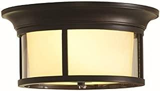 allen + roth IXP8012A Harpwell 13.19-in W Oil-Rubbed Bronze Flush Mount Light