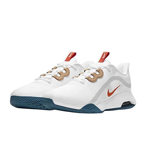 Nike Chaussures de Tennis Court Air Max pour Homme - - White Team Orange Green Abyss, 43 EU