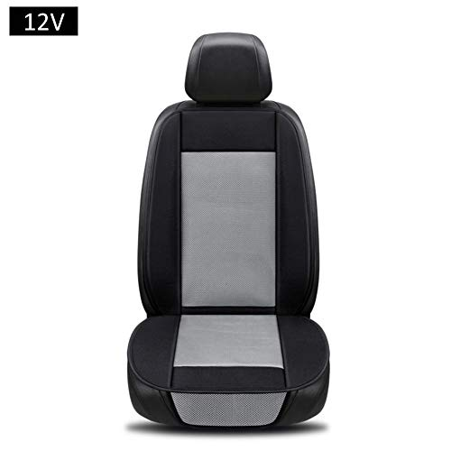 Rubyu Autozitkussen, antislip, ademend, PU-leer, koelkussen met ventilatorkoeling en airconditioning, voor auto, kantoor en rolstoel en reizen grijs