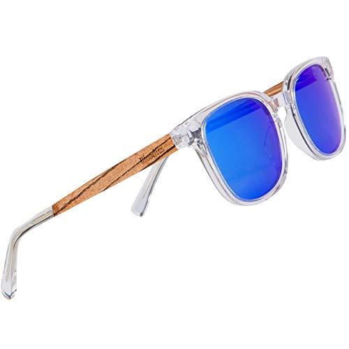 WOODIES Transparente Acetat-Sonnenbrille mit polarisierten Gläsern in Holzbox, Schwarz (schwarz), Medium