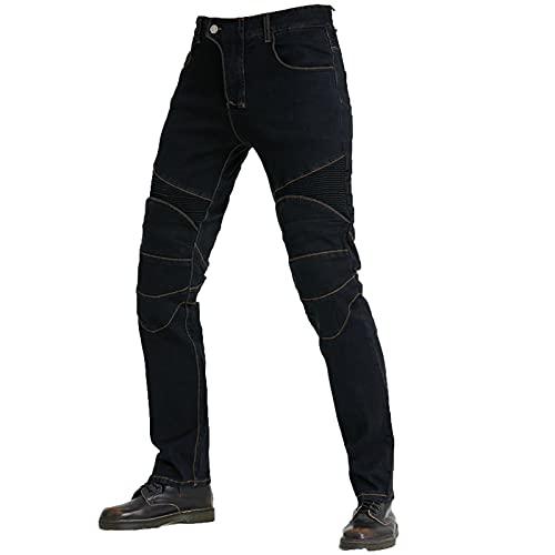 Pantalones de motocicleta para hombre, resistencia al desgaste y alta resistencia al desgarro, con protección adecuada para ciclismo (negro, 3XL)