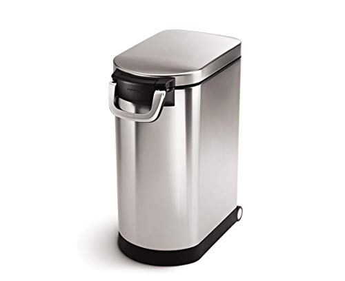 simplehuman Large Pet Food Storage Can, Brushed Stainless Steel, 30 L, 32 lb / 14.5 kg