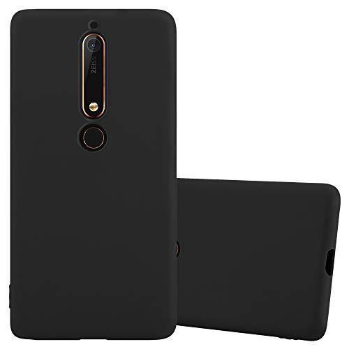 Cadorabo Custodia per Nokia 6 2018 / Nokia 6.1 in Candy Nero - Morbida Cover Protettiva Sottile di Silicone TPU con Bordo Protezione - Ultra Slim Case Antiurto Gel Back Bumper Guscio