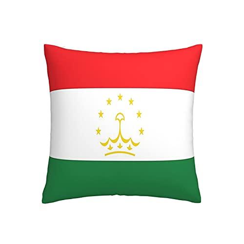 Kissenbezug mit Flagge von Tadschikistan, quadratisch, dekorativer Kissenbezug für Sofa, Couch, Zuhause, Schlafzimmer, Innen- & Außenbereich, 45,7 x 45,7 cm