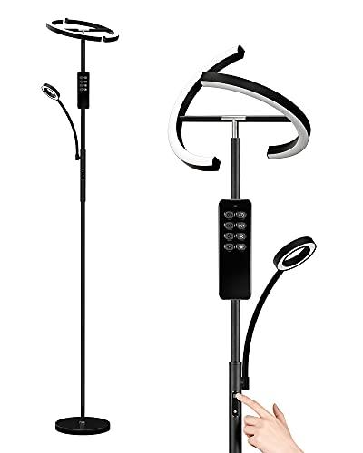 Anten Stehleuchte LED Dimmbar | Schwarz Stehlampe 20W mit flexibler 7W Leselampe | Modern Standleuchten mit fernbedienung 1500LM mit 3 Farbtemperatur für Wohnzimmer, Schlafzimmer, Büro, Hotel