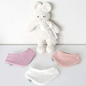 3er Set Halstücher – Altrose/Weiß/Rose meliert Baby Junge Baby Mädchen Halstuch Spucktuch Lätzchen