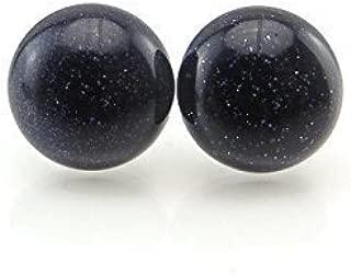 12mm Blue Goldstone Earrings on Plastic Posts for Metal Sensitive Ears
