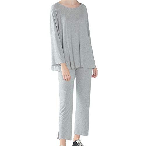 Zweiteiliges Pyjama-Set für Damen, legerer Schlafanzug, weich, elastisch, lange...