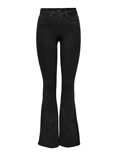 Only Onlroyal High Sweet Flared 600 Vaqueros, Black, 36W / 32L para Mujer
