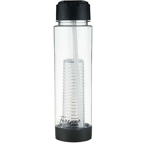 Ferexer Tritan - Botella de agua con pajita, reutilizable sin BPA, 700 ml, color negro