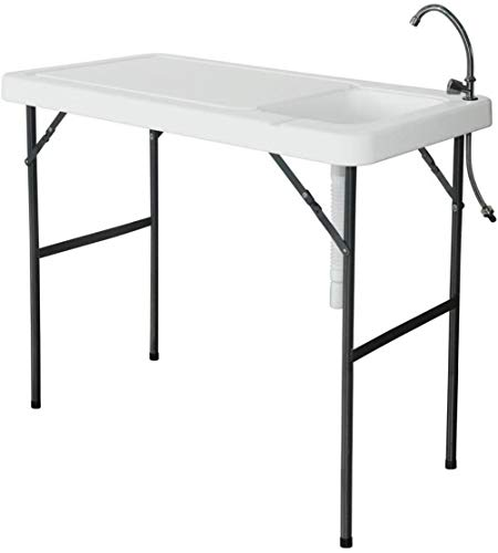 Deluxe Fish Cleaning Camp Table with Faucet Portable Folding Table Fish Fillet Hunting Cleaning Cutting Camping Picnic Outdoor Gardening Table w/Sink Faucet for Camping, Outdoor, Picnic, Vacation