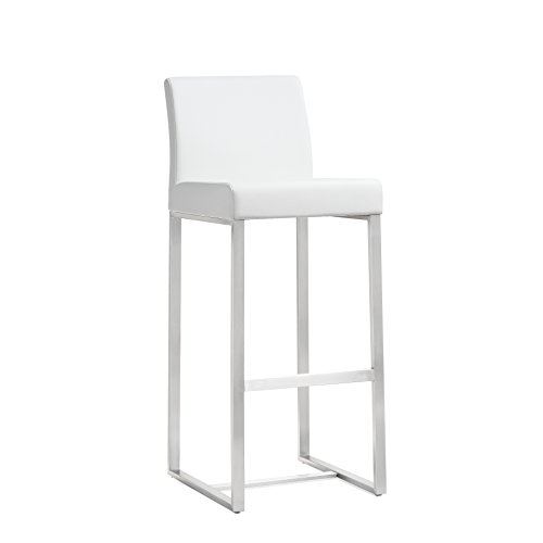 Tov Furniture The Denmark Collection Stainless Steel Metal Leather Upholstered Industrial Modern Bar Stool with Back, White, Set of 2