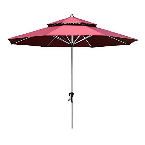 HYDT Sombrilla de Patio Sombrilla de Playa para Mesa de Jardín, Sombrilla de Mercado Sunbrella de 9 Pies con Poste Inclinable y 8 Varillas Resistentes, Sin Base (Color : Wine Red)