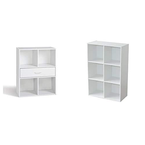 Alsapan Compo 10 94483 - Mueble Organizador (4 Compartimentos y 1 cajón, 61,5 x 29,5 x 80 cm), Color Blanco + 94046 Compo 08 - Estantería con 6 repisas, Color Blanco, 61,5 x 29,5 x 91,1 cm