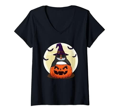 Mujer Linda camisa de Halloween Niñas Niños Witchy Penguin Halloween Camiseta Cuello V
