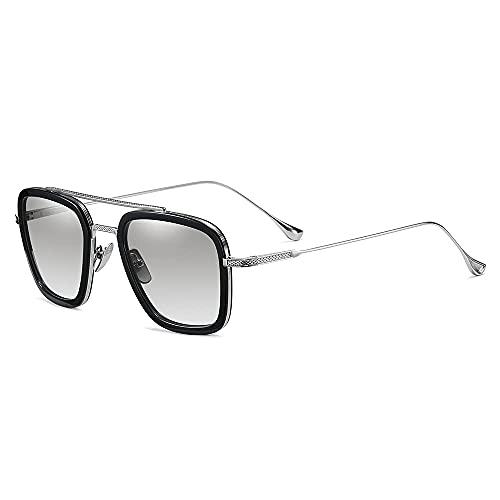 SHEEN KELLY Luxus Retro Sonnenbrille Quadratische Brillen Metallrahmen für Männer Frauen Klassiker Sonnenbrille Piloten Silber Schrittweise Linsen, Grau1:1