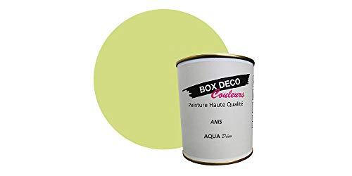 Peinture acrylique aspect satin Aqua déco - Murale - 44 couleurs - 750 ml - 7.5 m² (Vert Anis)