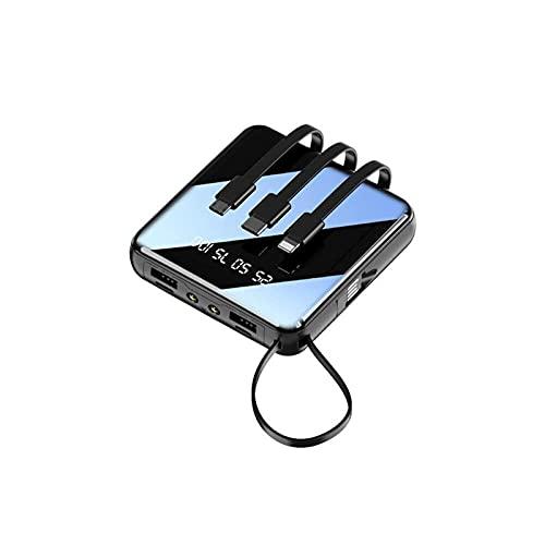 Kettles 20000mAh Cargador de batería Externo portátil Powerbank LED Luz para Xiaomi Huawei iPhone 11/12 / Mini/Pro MAX, Samsung S20 + / S10, Airpods, iPad Air-Black (Color : Black-10000mah)