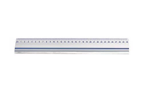 Wedo 525430 Schneidelineal (aus Aluminium, mit Stahlkante und rutschsicherer Gummieinlage, 30 cm)