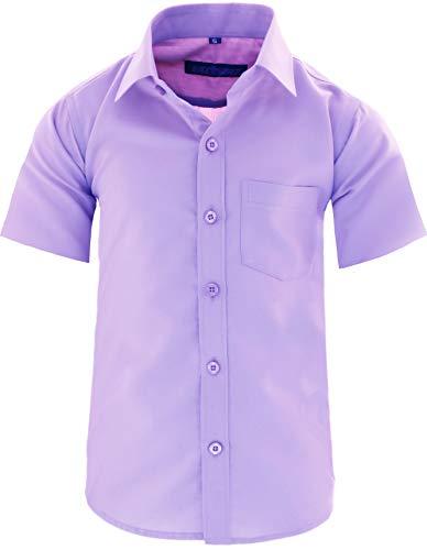 GILLSONZ A0 vDa New Kinder Party Hemd Freizeit Hemd bügelleicht Kurz ARM mit 9 Farben Gr.86-158 (98/104, Hell-lila)